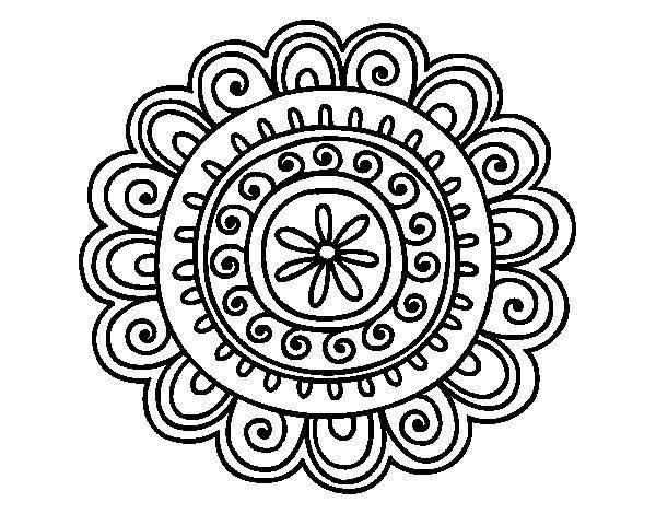 Desenho De Mandala Alegre Para Colorir