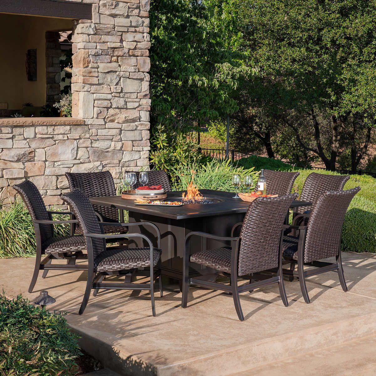 Bellafina 9piece Fire Dining Set in 2020 Diy patio