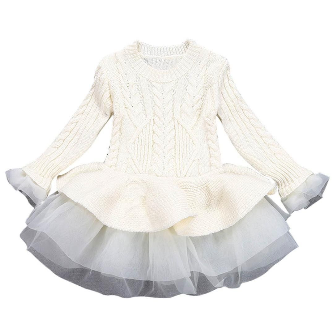 06b3f0d0c GBSELL Kids Baby Girls Knitted Sweater Crochet Pullovers Lace Tutu ...