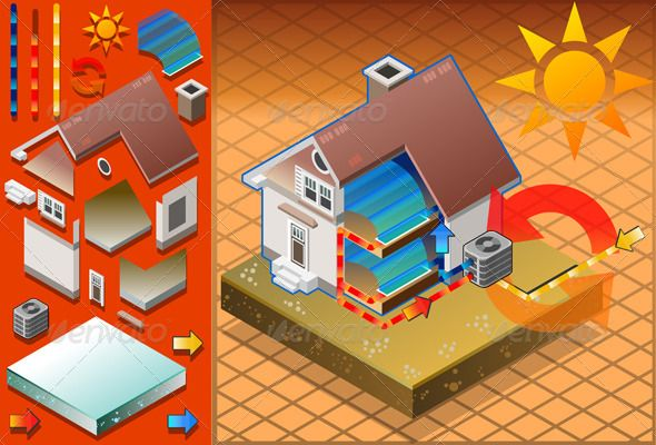 Isometric House With Conditioner Cold Production Graphicriver