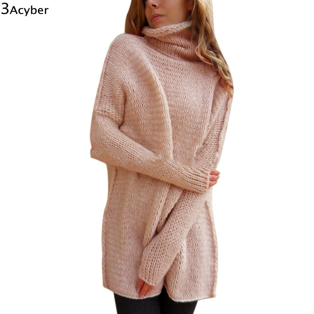 Maglione lungo a collo alto in cotone.