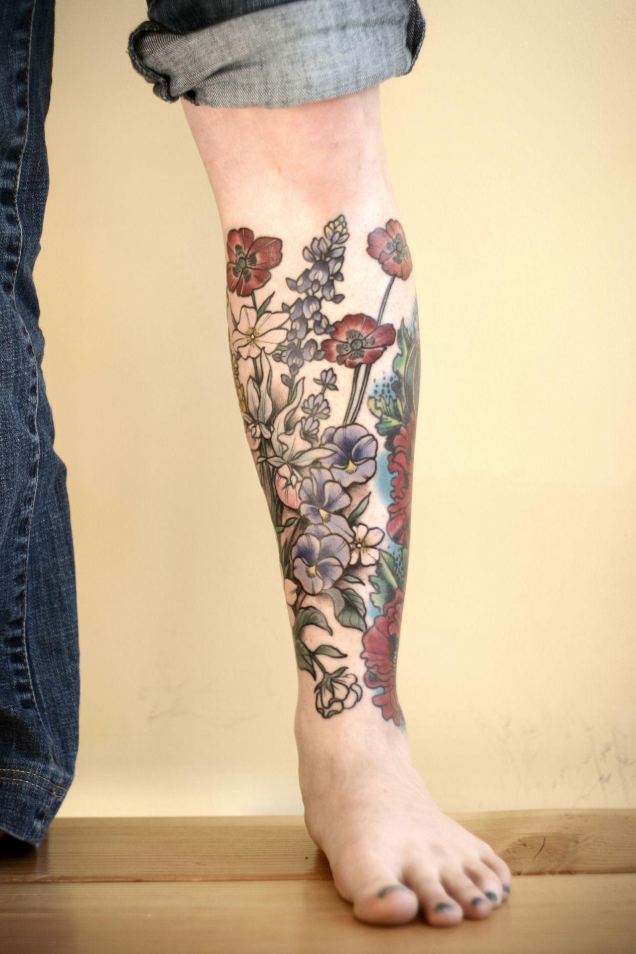 "Lower Tattoo Sleeve: Kirstenmakestattoos: "" Progress On A Floral Lower Leg"