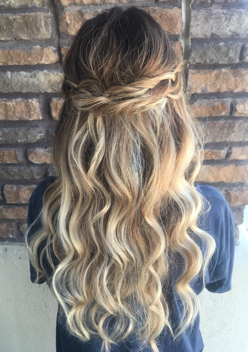 Half Up Half Down 55 Half Up Half Down Style Pulled Back With Two Pulled Out Braids And Waves Starts At 55 Braids Are Hair Styles Stylish Hair Hairstyle