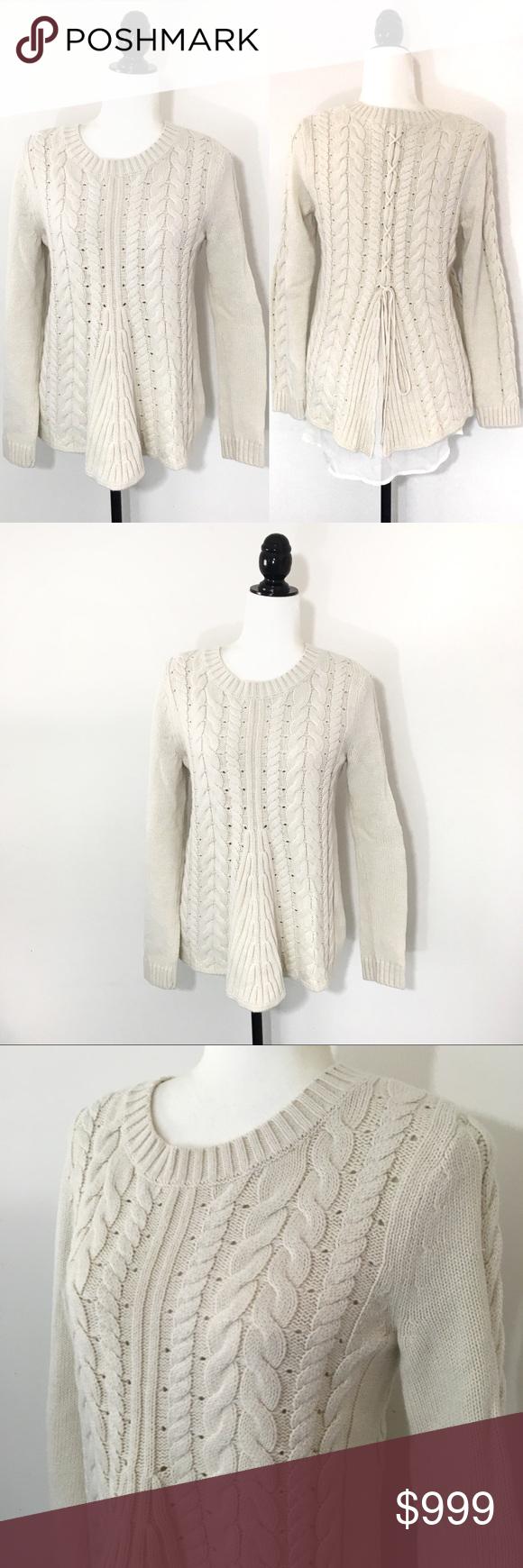 c6668c8290 Cabi Cream Lace Up Sweater 3157 M Cabi Cream cable knit lace up sweater  Crewneck Chiffon panel detail  3157 Size medium white CAbi Sweaters Crew    Scoop ...