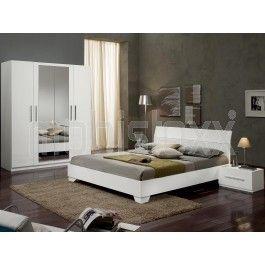 Chambre Complete Ginola 160x200 Cm Blanc Laque Avec Images