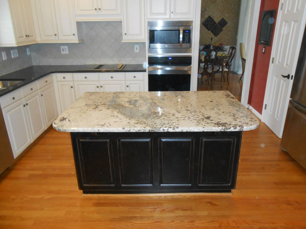 Pistachio Granite On Island And Black Pearl 12 31 13 Granite Kitchen Island Countertops Cost Of Granite Countertops