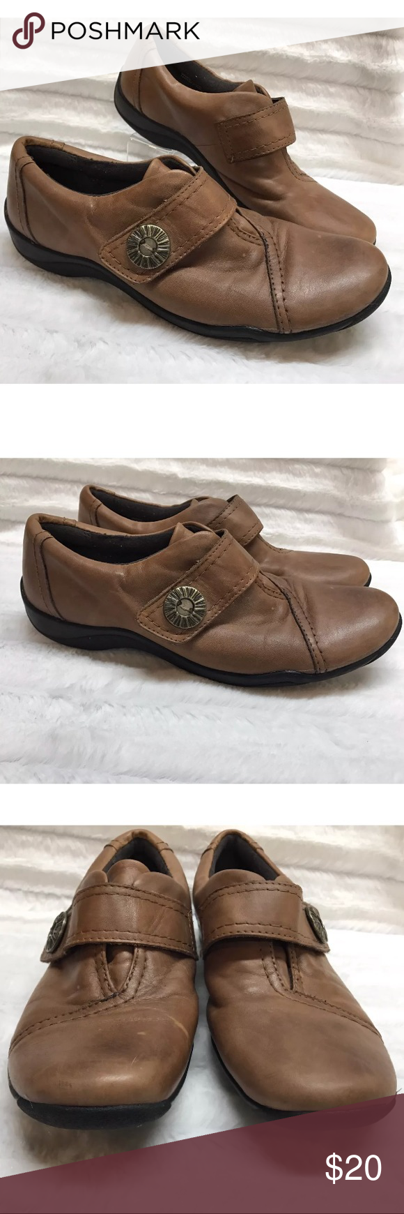 Clarks Artisan Leather Brown Loafer Slip On Shoes Women's Clarks Artisan  Leather Shoes Size 7.5 Light Brown Loafer Slip On Gently used condition, ...