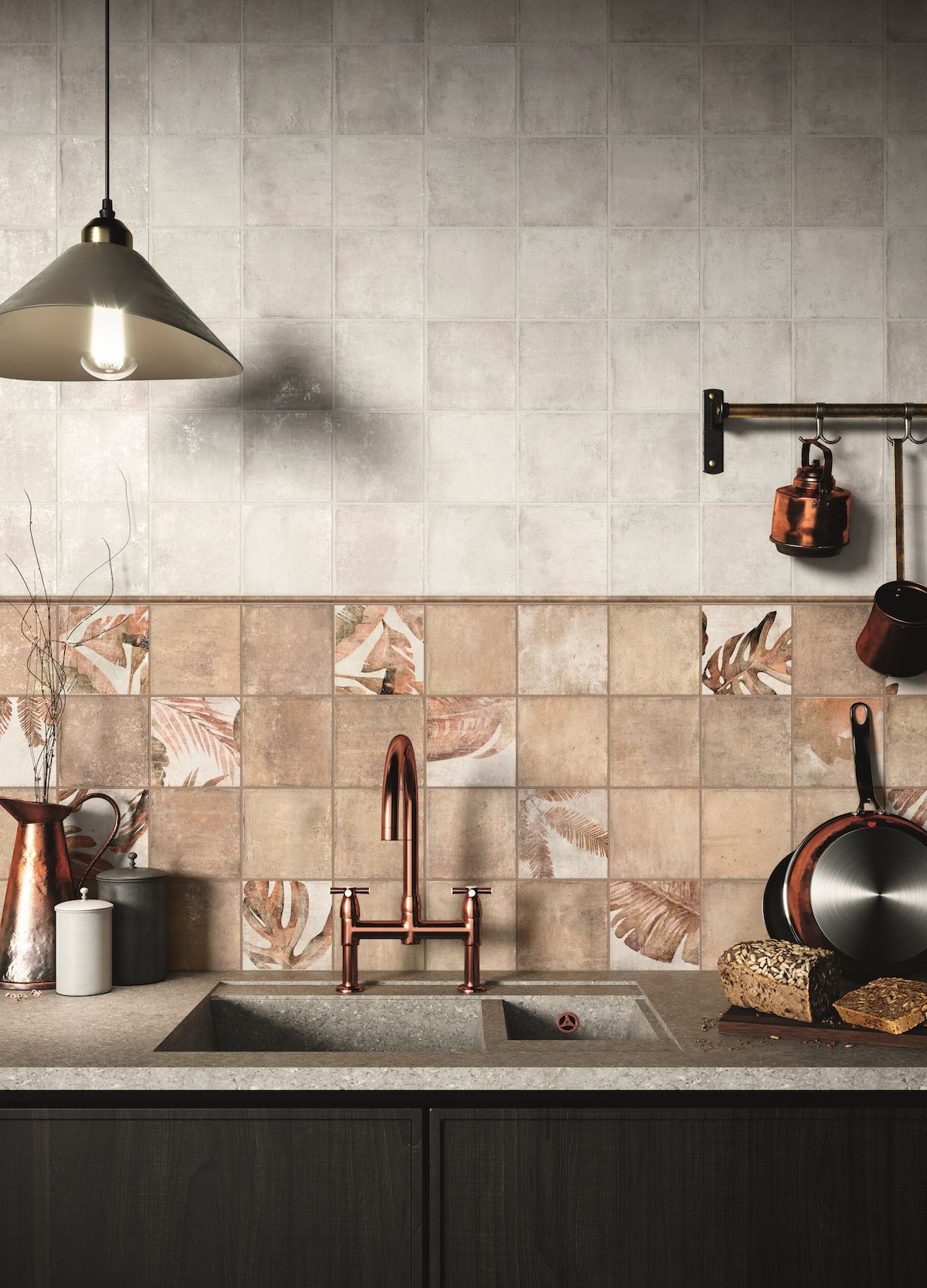 pin by ctd architectural tiles on botanical tiles earthy kitchen beautiful kitchen designs on kitchen interior tiles id=39412