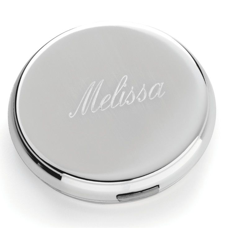 Choose this gift of a round pocketbook mirror for your bridesmaids. Engraving is available.