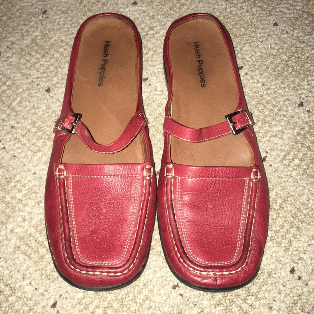 Comfortable Red Leather Shoes By Hush Puppy Sz 9 5 In 2020