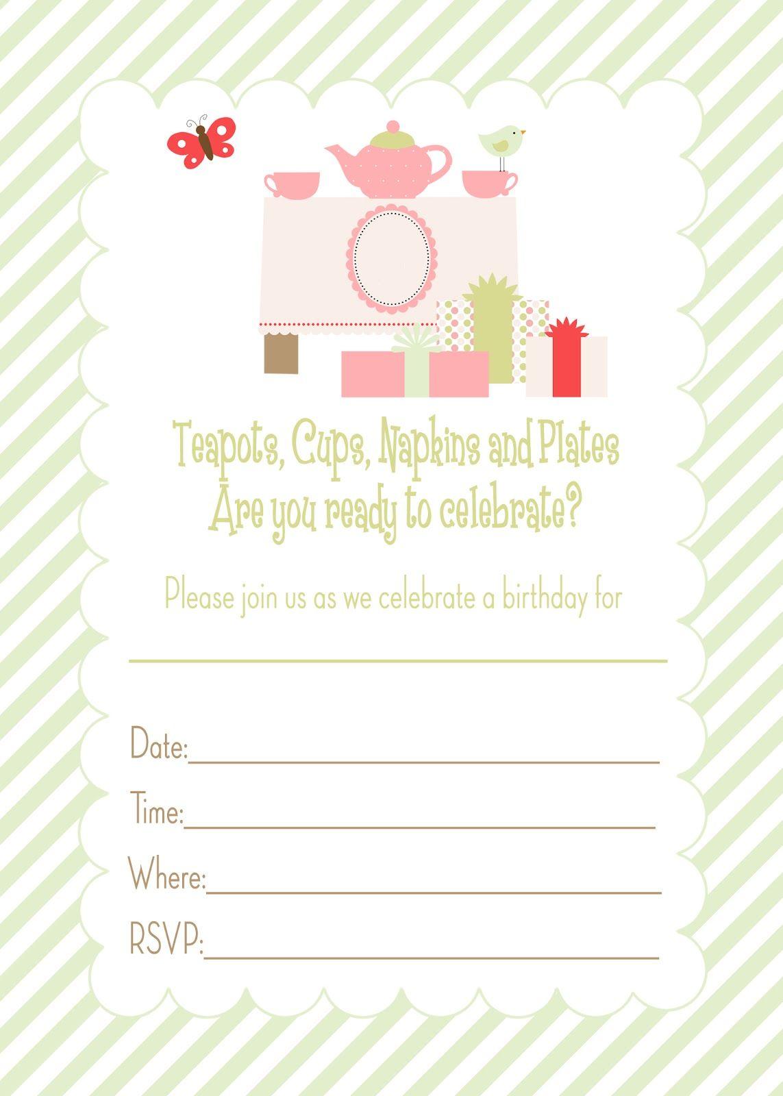free printable tea party birthday invitation
