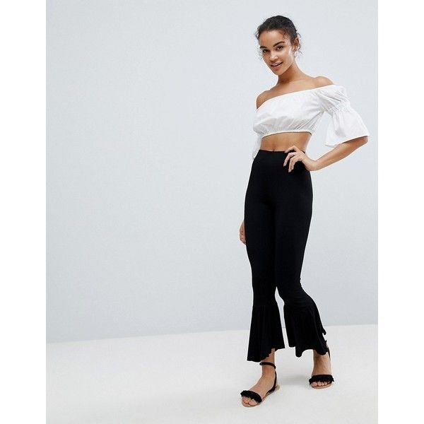 Leggings with Fluted Flare Hem - Black Asos Petite UhpVk