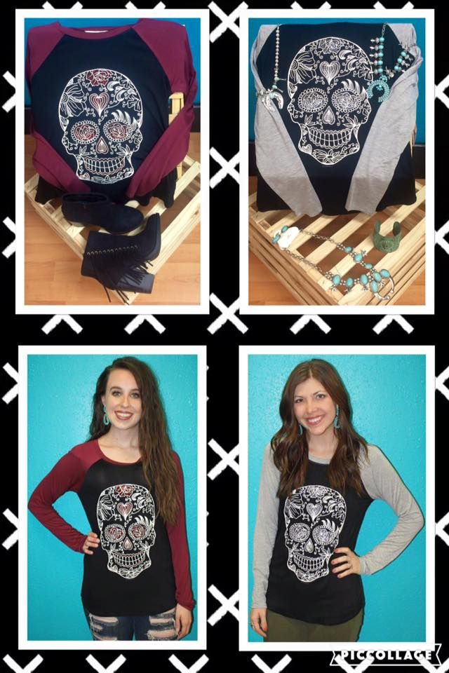 """These """"De Los Muertos"""" Baseball Tee's are to die for... wink emoticon  $28.00 http://www.smalltowngypsy.com/catalog.php?category=83 #friday #ootd #sugarscull #baseballtee #love"""