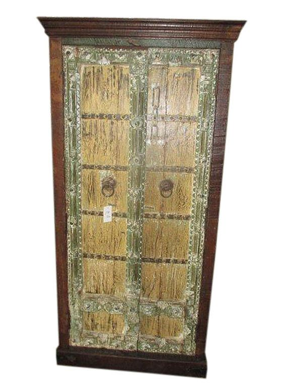 Antique Indian Cabinet Hand Carved Rustic Armoire by MOGULGALLERY ...
