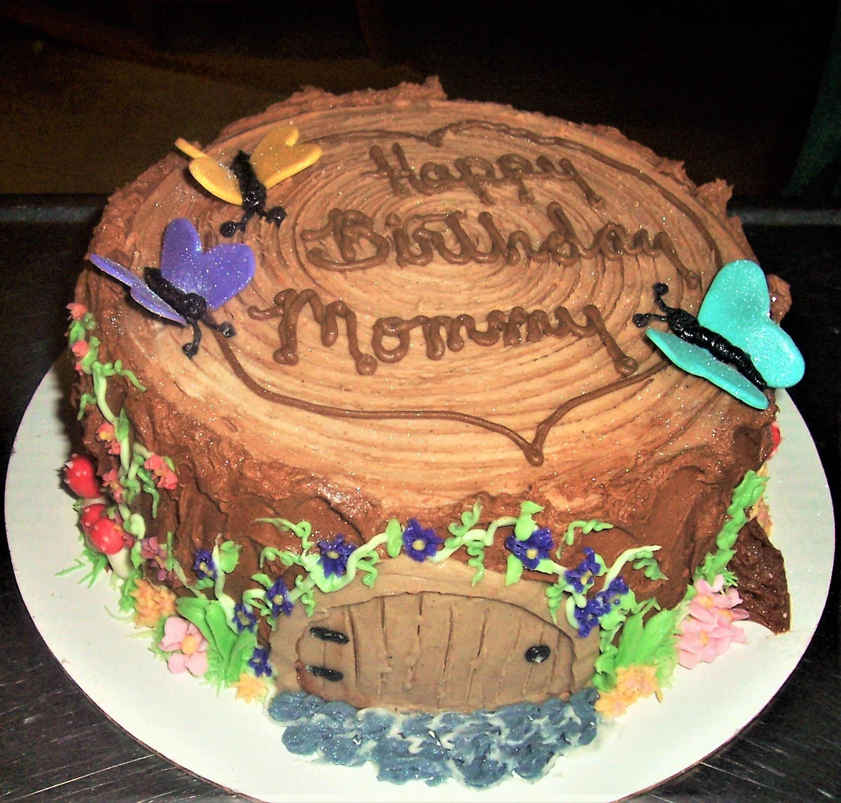 Tree Stump Fairy House 9 Yellow Cake Chocolate Frosting Piped