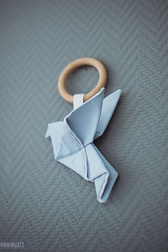 Wooden teething ring toy Origami Crane - Organic teether wood cotton