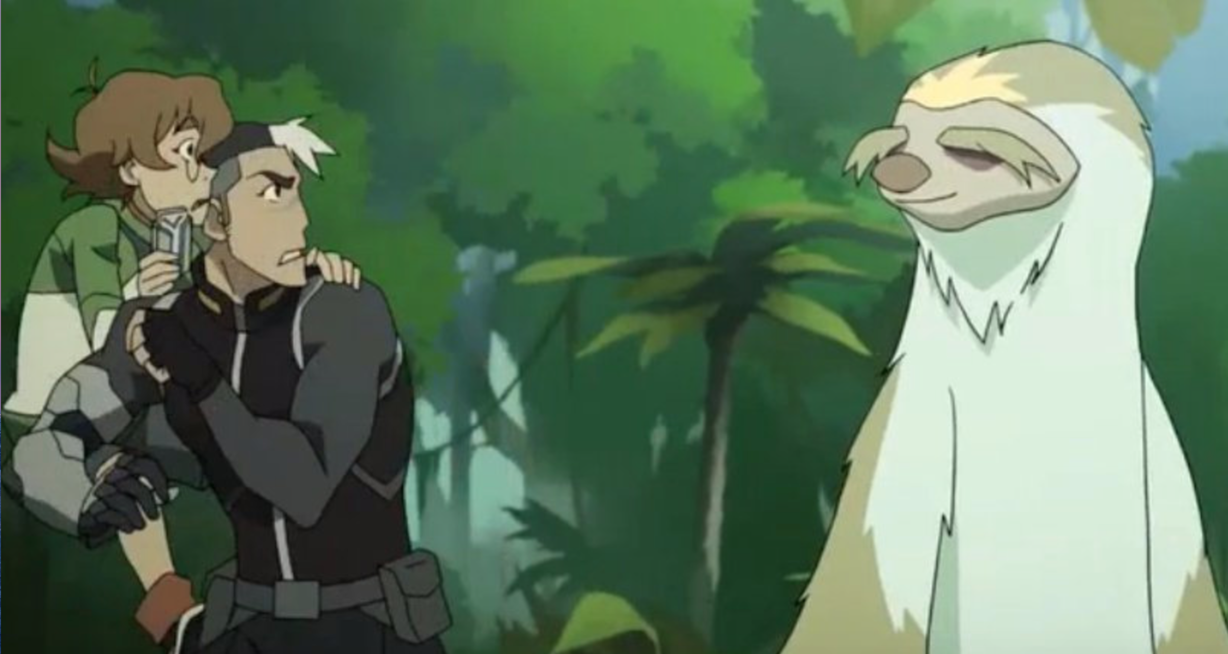 pidge and shiro jumped on top of each other in shock of