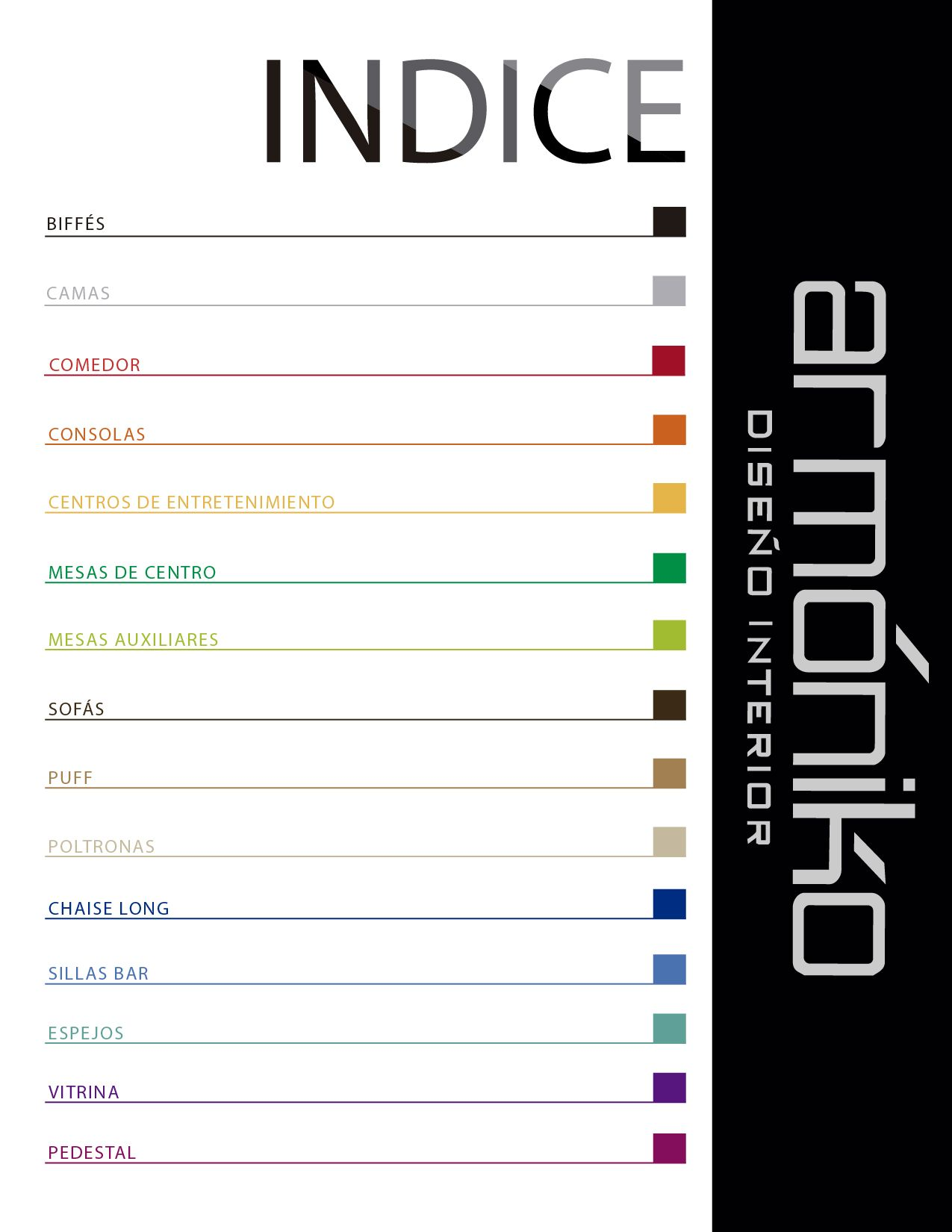 diseño de indice de un catalogo de muebles Diseño