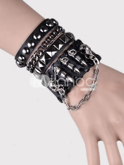 I found 'Punk Studs Chain Faux Leather Fashion Bracelet' on Wish, check it out!