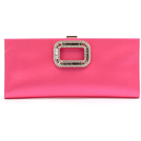 5357961748de45 Roger Vivier Pilgrim Strass-Buckle Satin Clutch Bag (11,530 CNY) ❤ liked on  Polyvore featuring bags, handbags, clutches, fuschia, satin handbags, ...