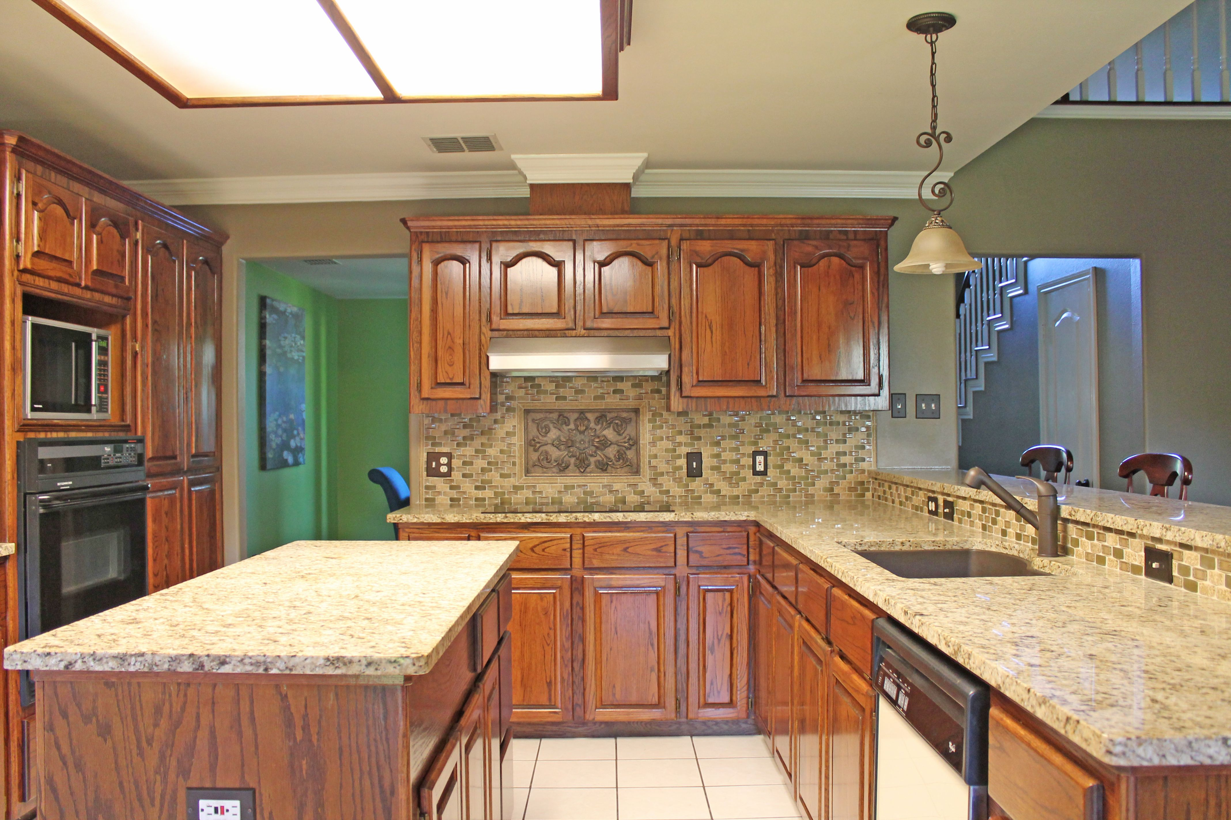 #Kitchen design with light beige granite countertops and ... on Backsplash Ideas With Granite Countertops  id=96029