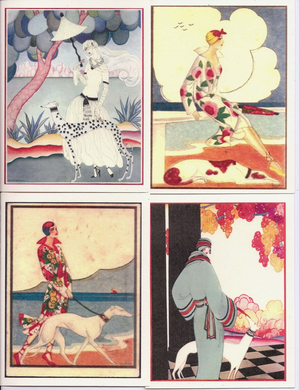 c698330b0758c Vogue/Art Deco Greyhound Dog Art Notecards Set of 4 by suebero ...