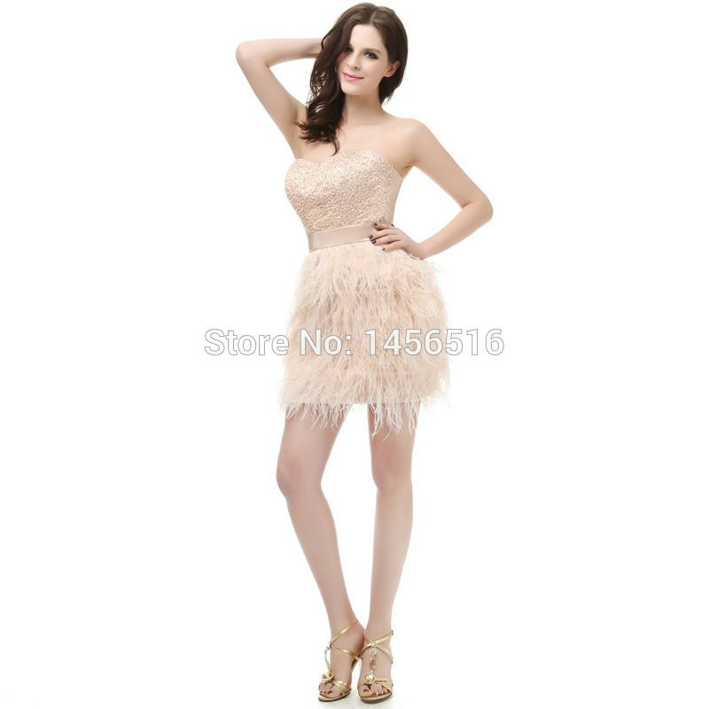 2017 Sweetheart Beaded Mini Cocktail dresses ostrich feather short ...