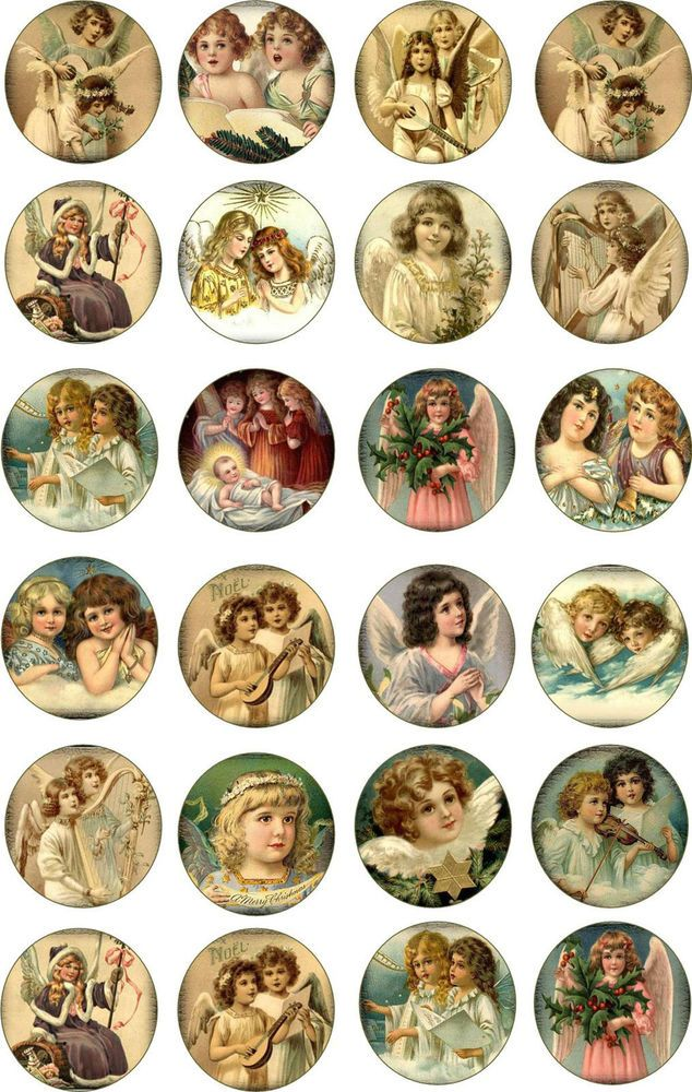 "Christmas 2/"" 24 round circle angel glossy paper"