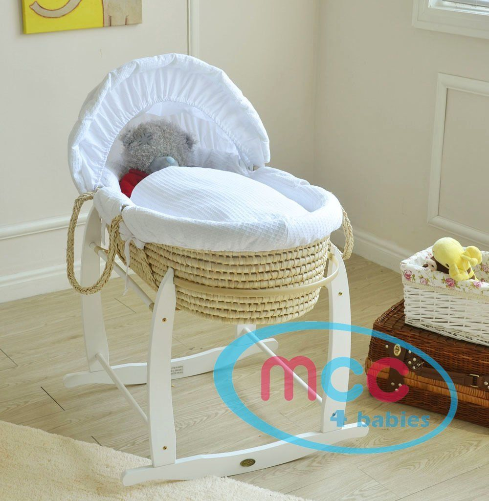 Palm, Blue MCC Full Set Deluxe Palm Wicker Moses Basket with Dressing /& Rocking Stand