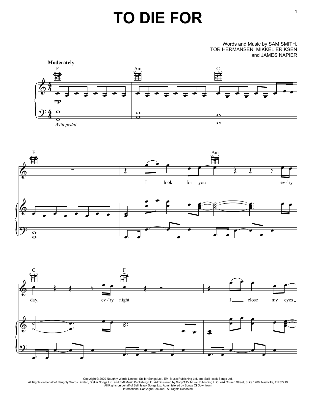 Sam Smith To Die For Sheet Music Notes Chords Score Download Printable Pdf Sheet Music Sheet Music Notes Pop Sheet Music