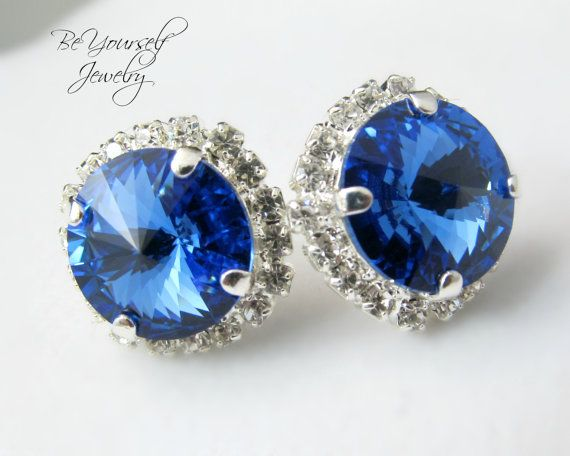 Wedding Earrings Swarovski Blue Bridal Earrings Sapphire Rivoli Stud