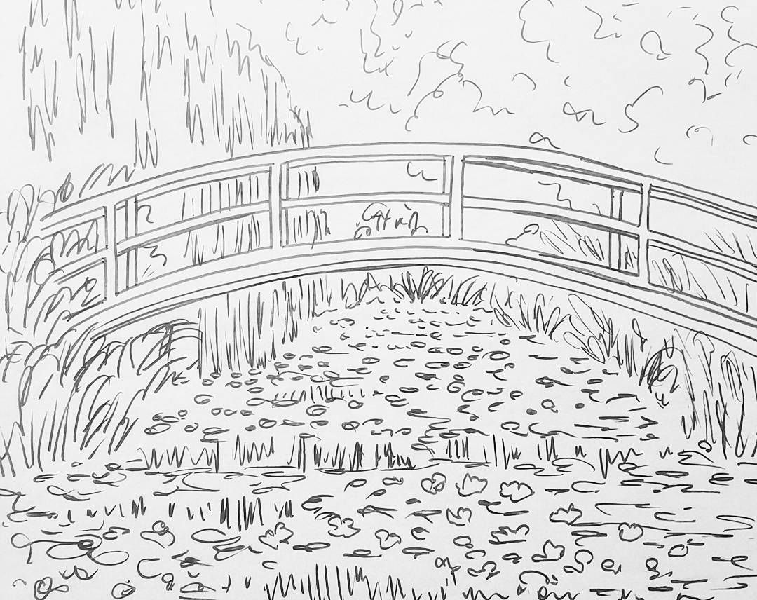Monet Bridge Over Waterlilies Pond Traceable Angelafineart