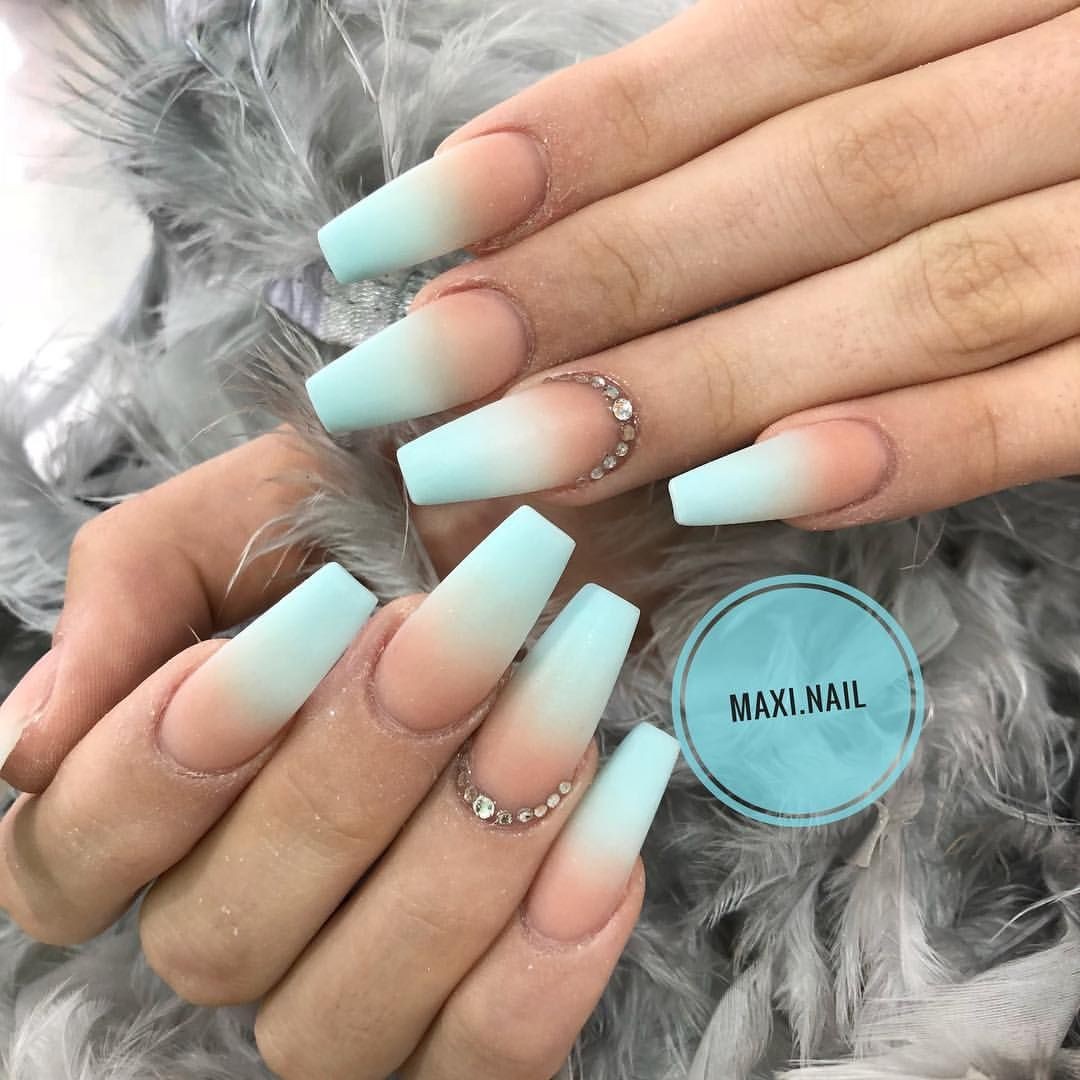 Pastel Ombre Blue With Matte Finish Ombre Acrylic Nails Matte Nails Design Blue Acrylic Nails