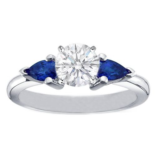round diamond engagement ring with pear shape blue sapphires in platinum - Sapphire And Diamond Wedding Rings