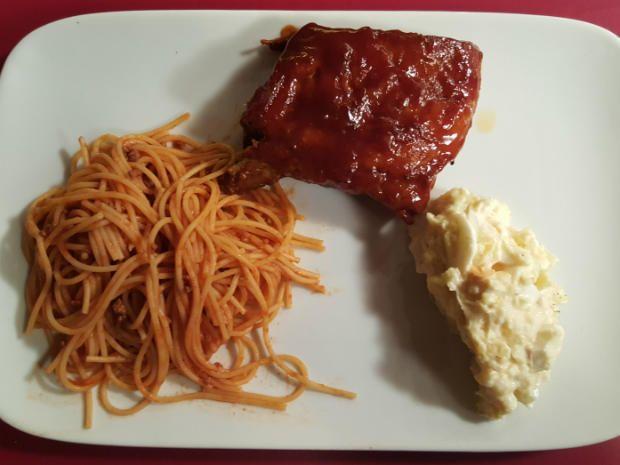 das perfekte dinner rezepte bbq spare ribs american kartoffelsalat und sweet spaghetti. Black Bedroom Furniture Sets. Home Design Ideas