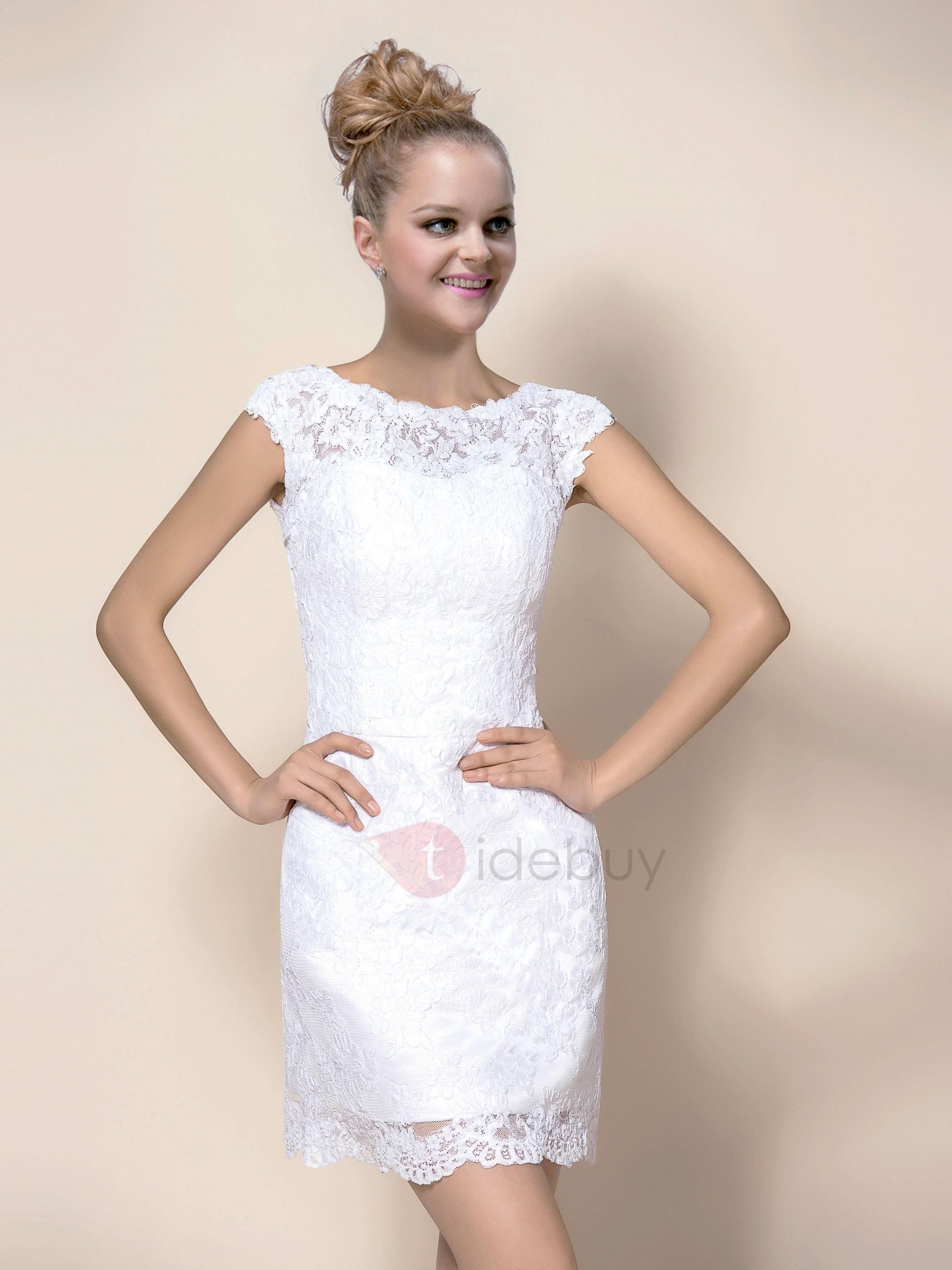 Tidebuy tidebuy pretty scoop neck sheath short white lace wedding