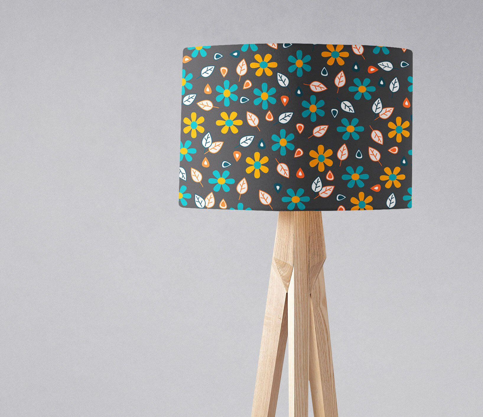 Grey Yellow Bedroom, Grey Floral Lamp, Grey Lampshade, Grey Table
