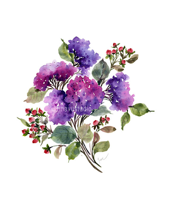 Purple Hydrangea Bouquet August Birthday Flowers Watercolor