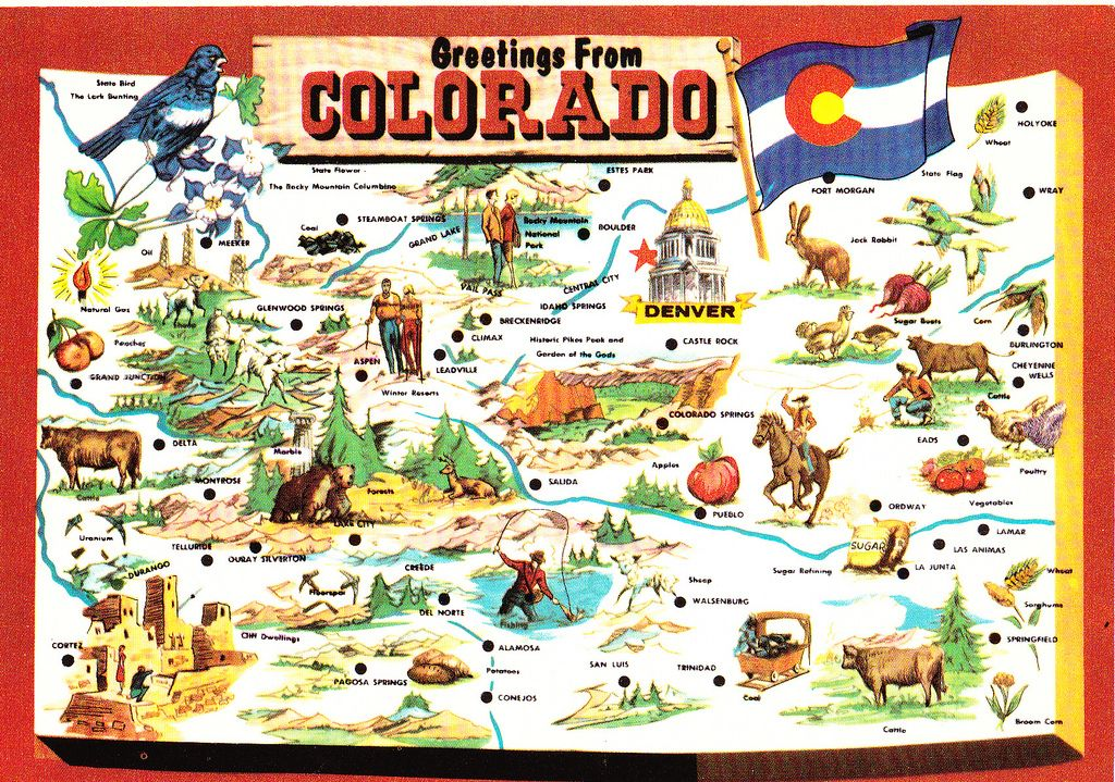 Colorado State Greetings From Map Postcard States Estes Park - State of colorado map