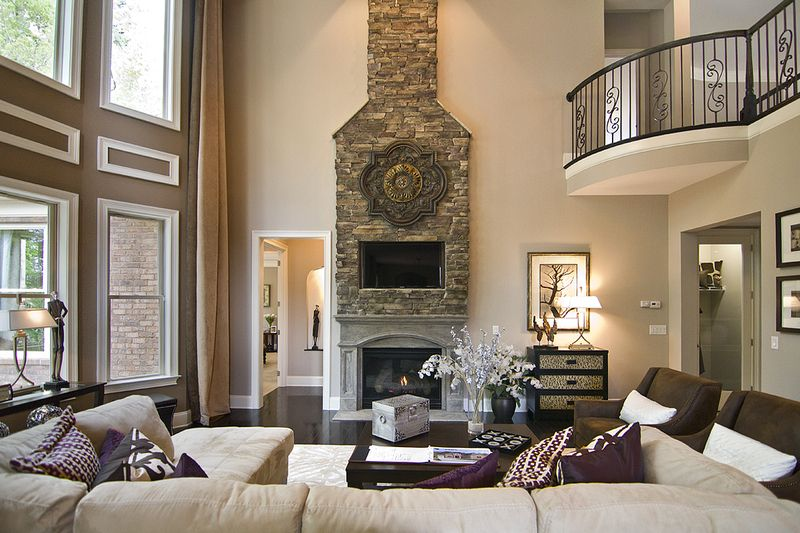 Family Great Room Stacked Stone Fireplace Accent Wall Color