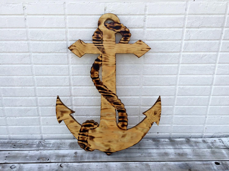 Anchor Wall Art wooden guestbook alternative, wedding guest book anchor wood sign