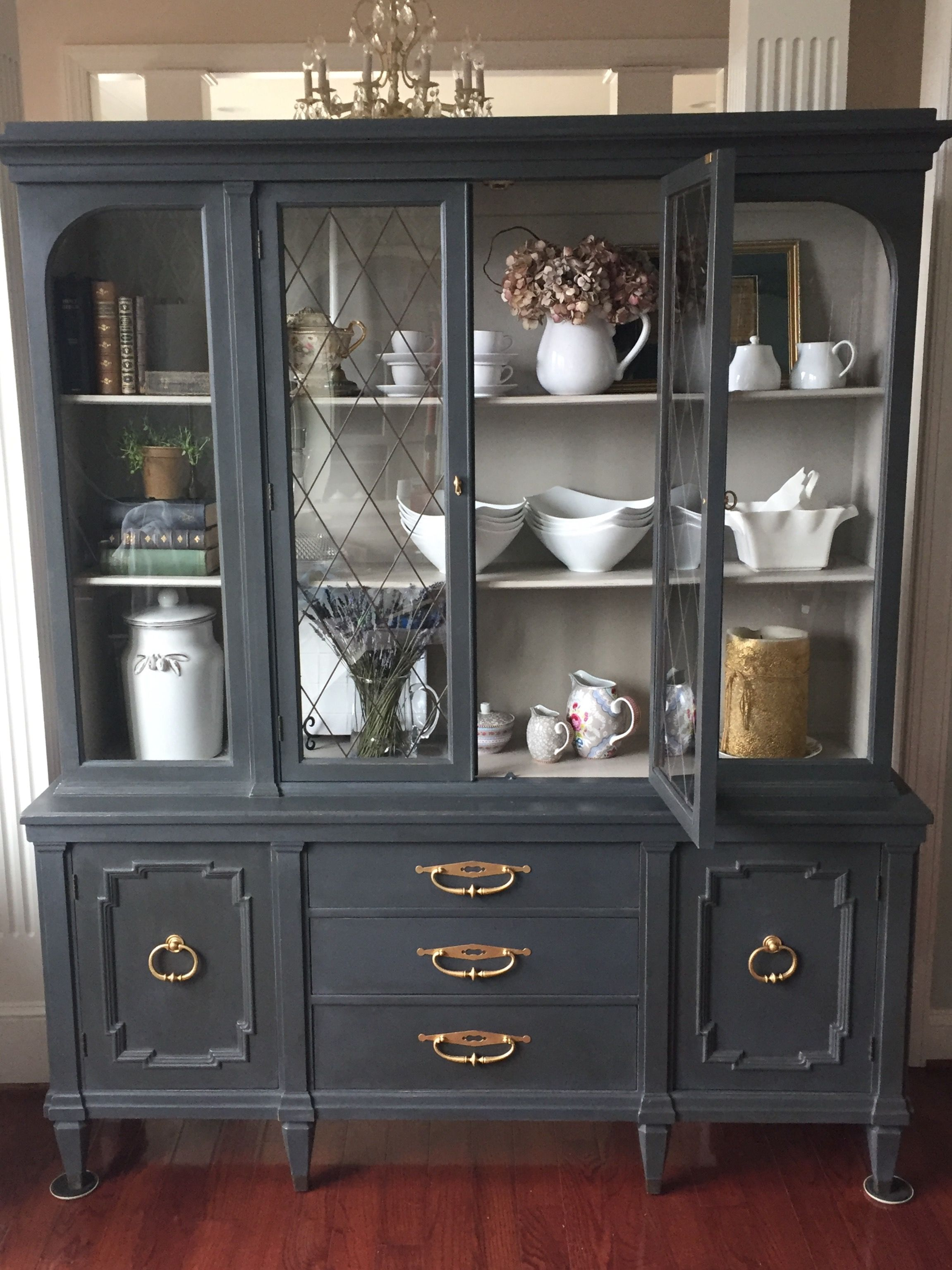 Painted China Cabinet In Eat In Kitchen Or Dining Room Painted