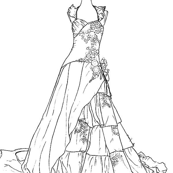 Wedding Dresses Coloring Pages Free Printable Within Dress