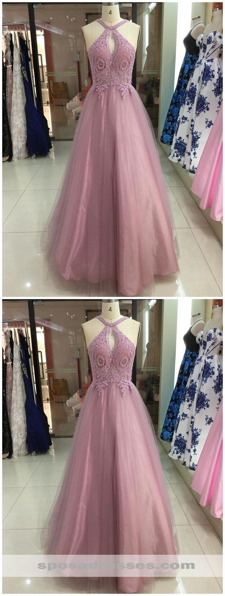 pink lace applique a-line long evening prom dresses, cheap