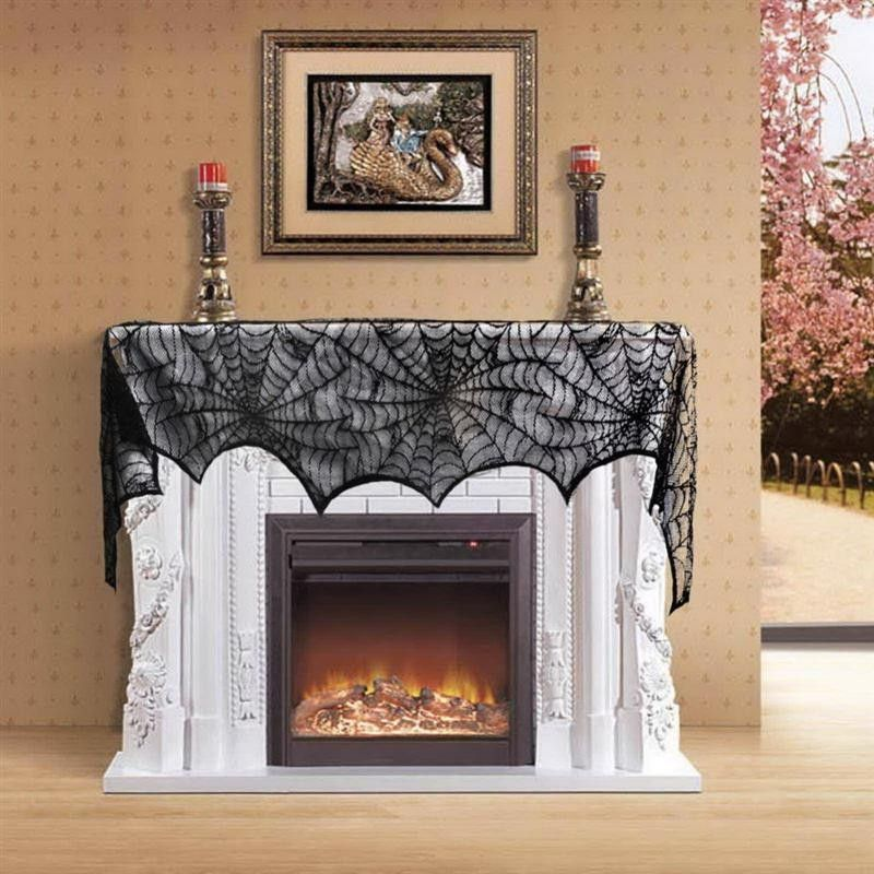 black lace fireplace mantle