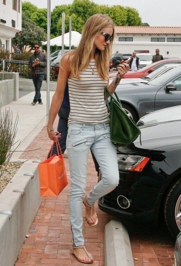 rosie-huntington-whiteley style look outfit strips balmain denim sandals celien bag