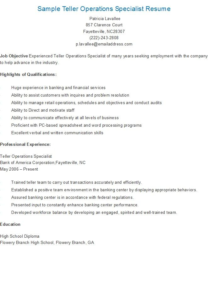 Sample Teller Operations Specialist Resume resame Pinterest - safety specialist resume
