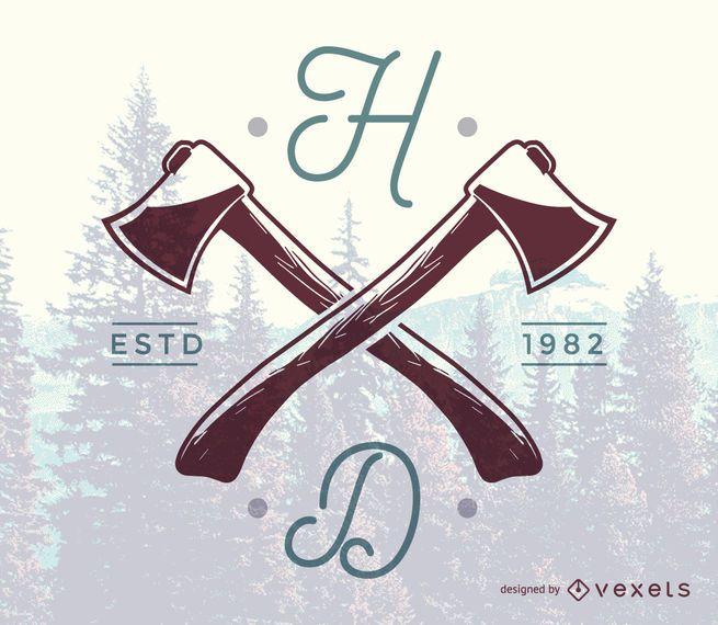 Hipster logo template design featuring a hand-drawn axe illustration - hipster logo template