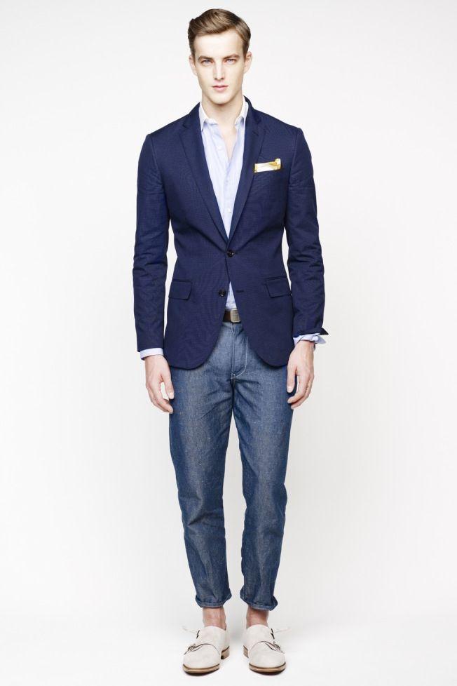 Men's Navy Blazer, Light Blue Long Sleeve Shirt, Blue Jeans, Beige ...