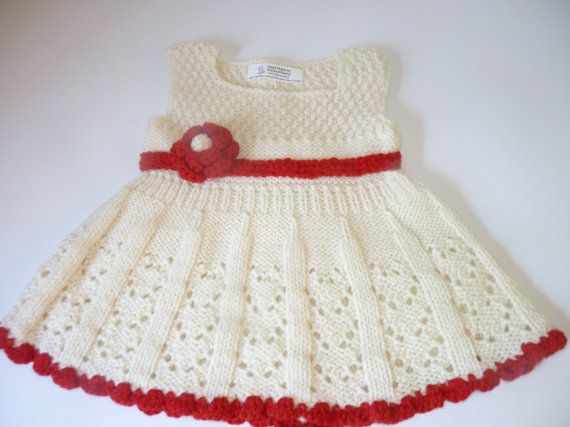 369a7b31d0cc Hand knitted Baby Dress - Wool